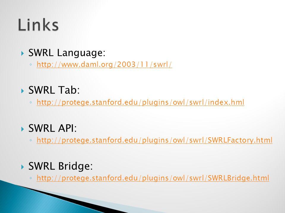  SWRL Language: ◦ http://www.daml.org/2003/11/swrl/ http://www.daml.org/2003/11/swrl/  SWRL Tab: ◦ http://protege.stanford.edu/plugins/owl/swrl/index.hml http://protege.stanford.edu/plugins/owl/swrl/index.hml  SWRL API: ◦ http://protege.stanford.edu/plugins/owl/swrl/SWRLFactory.html http://protege.stanford.edu/plugins/owl/swrl/SWRLFactory.html  SWRL Bridge: ◦ http://protege.stanford.edu/plugins/owl/swrl/SWRLBridge.html http://protege.stanford.edu/plugins/owl/swrl/SWRLBridge.html