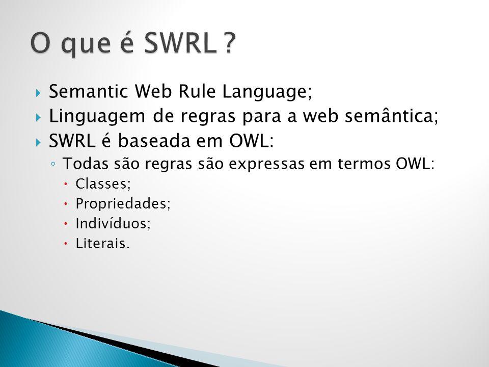  Semantic Web Rule Language;  Linguagem de regras para a web semântica;  SWRL é baseada em OWL: ◦ Todas são regras são expressas em termos OWL:  Classes;  Propriedades;  Indivíduos;  Literais.