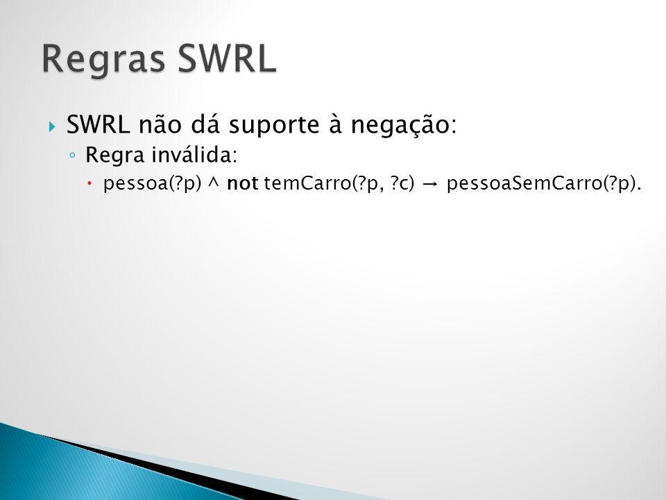  SWRL não dá suporte à negação: ◦ Regra inválida:  pessoa(?p) ^ not temCarro(?p, ?c) → pessoaSemCarro(?p).