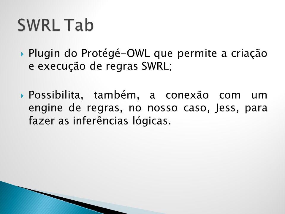  Plugin do Protégé-OWL que permite a criação e execução de regras SWRL;  Possibilita, também, a conexão com um engine de regras, no nosso caso, Jess