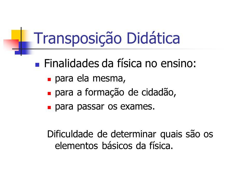 Transposição Didática Finalidades da física no ensino: para ela mesma, para a formação de cidadão, para passar os exames.
