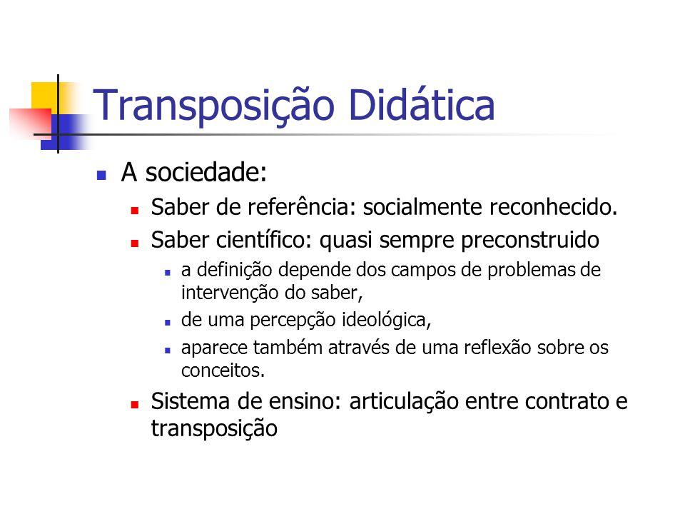 Transposição Didática A sociedade: Saber de referência: socialmente reconhecido.