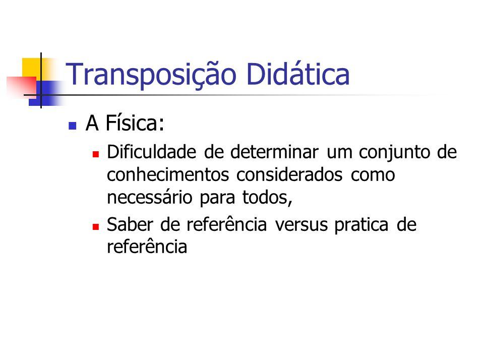 Transposição Didática A Física: Dificuldade de determinar um conjunto de conhecimentos considerados como necessário para todos, Saber de referência versus pratica de referência