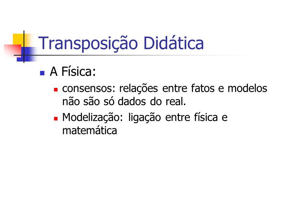 Transposição Didática A Física: consensos: relações entre fatos e modelos não são só dados do real.