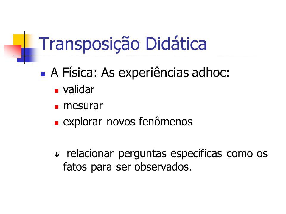 Transposição Didática A Física: As experiências adhoc: validar mesurar explorar novos fenômenos ê relacionar perguntas especificas como os fatos para ser observados.