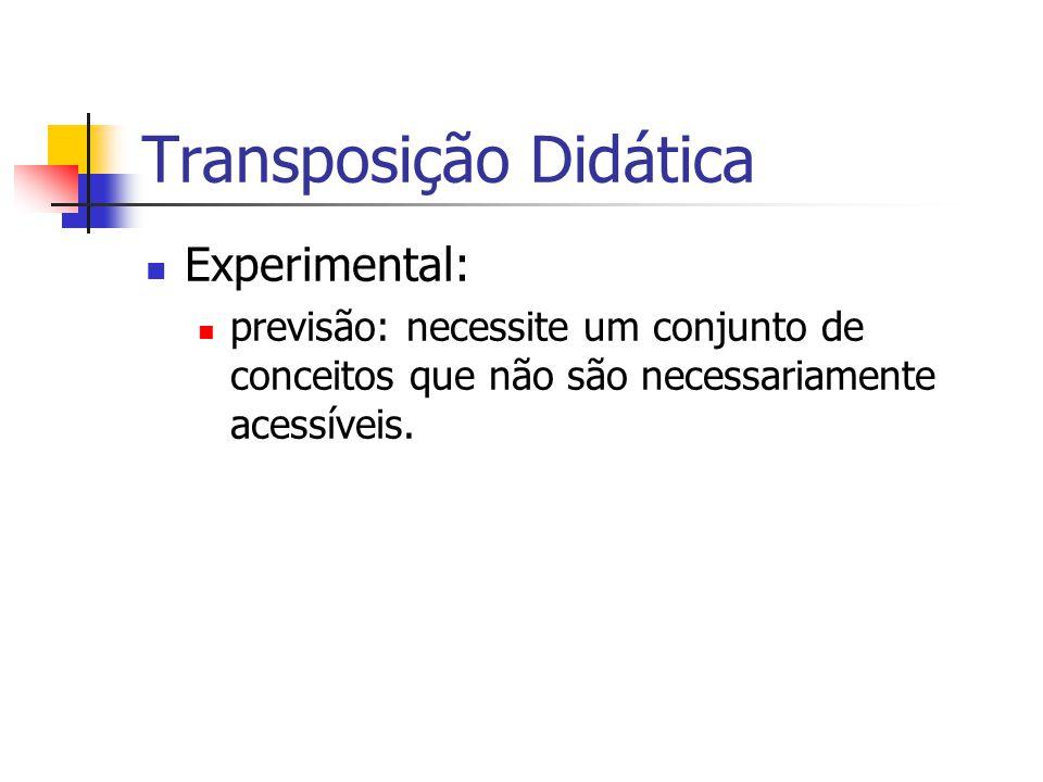Transposição Didática Experimental: previsão: necessite um conjunto de conceitos que não são necessariamente acessíveis.