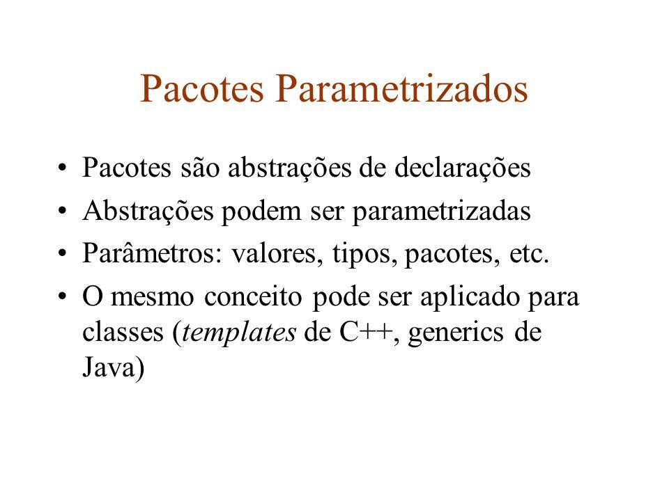 Pacotes Parametrizados Pacotes são abstrações de declarações Abstrações podem ser parametrizadas Parâmetros: valores, tipos, pacotes, etc.