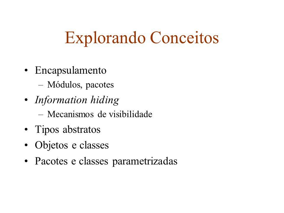 Explorando Conceitos Encapsulamento –Módulos, pacotes Information hiding –Mecanismos de visibilidade Tipos abstratos Objetos e classes Pacotes e classes parametrizadas