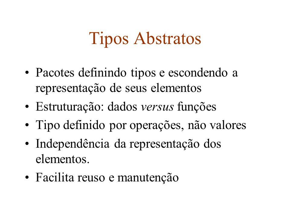 Tipos Abstratos Pacotes definindo tipos e escondendo a representação de seus elementos Estruturação: dados versus funções Tipo definido por operações, não valores Independência da representação dos elementos.