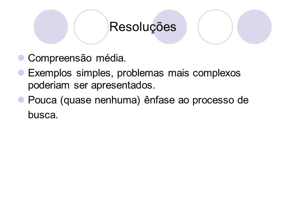 Resoluções Compreensão média.Exemplos simples, problemas mais complexos poderiam ser apresentados.