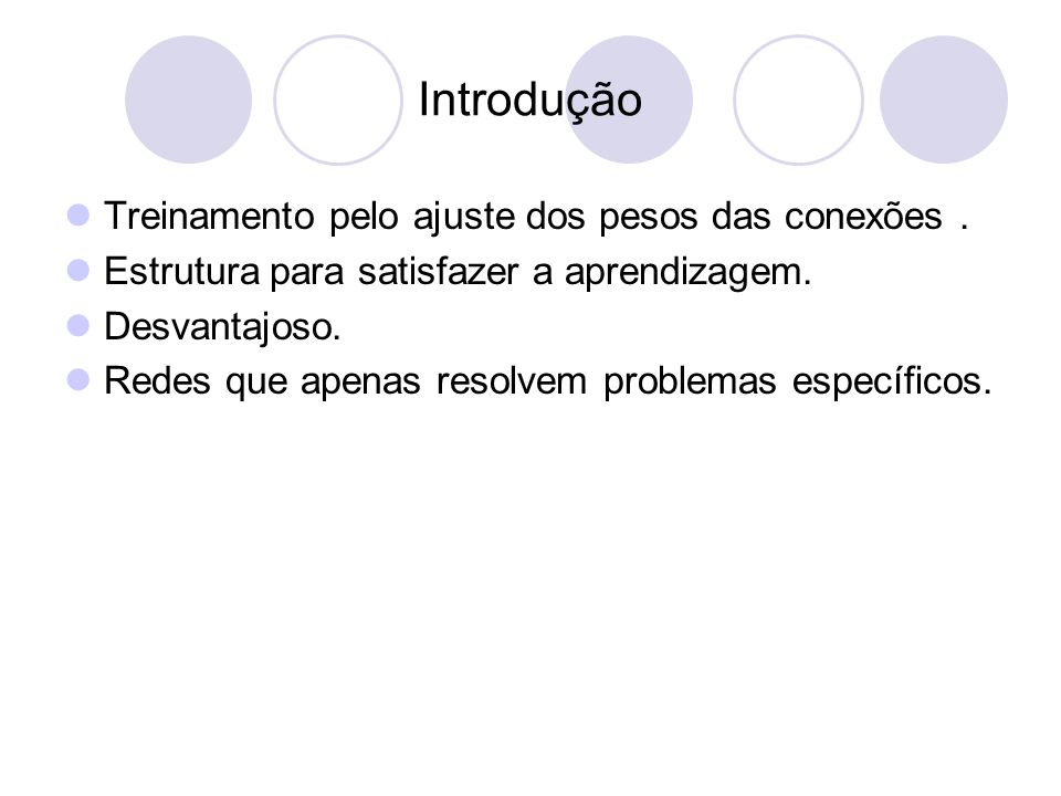 Introdução Treinamento pelo ajuste dos pesos das conexões.