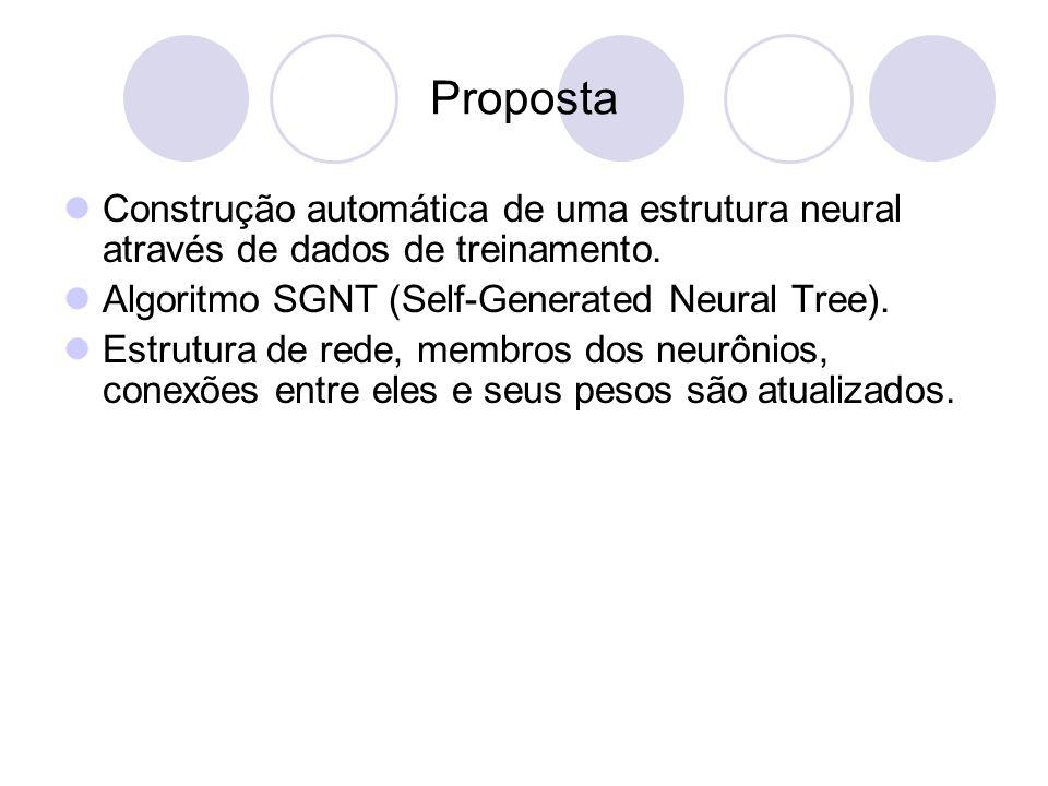 Proposta Construção automática de uma estrutura neural através de dados de treinamento.