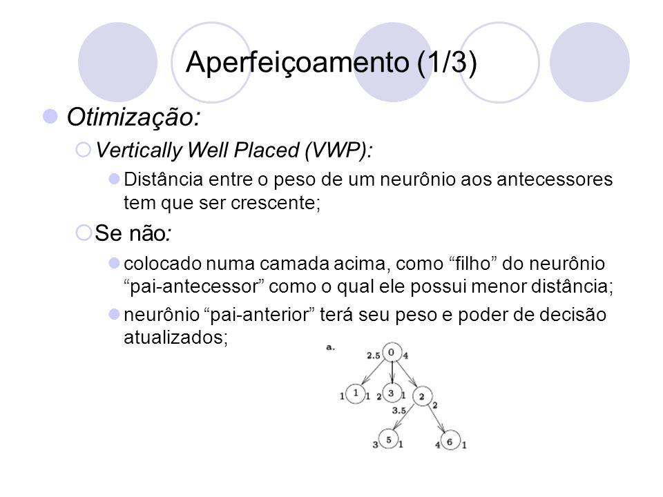 Aperfeiçoamento (1/3) Otimização:  Vertically Well Placed (VWP): Distância entre o peso de um neurônio aos antecessores tem que ser crescente;  Se não: colocado numa camada acima, como filho do neurônio pai-antecessor como o qual ele possui menor distância; neurônio pai-anterior terá seu peso e poder de decisão atualizados;