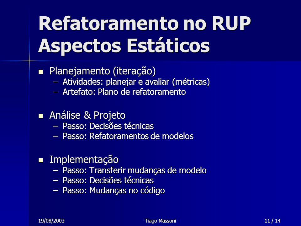 19/08/2003Tiago Massoni11 / 14 Refatoramento no RUP Aspectos Estáticos Planejamento (iteração) Planejamento (iteração) –Atividades: planejar e avaliar