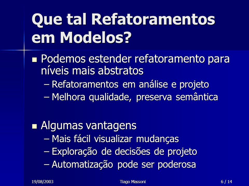 19/08/2003Tiago Massoni6 / 14 Que tal Refatoramentos em Modelos? Podemos estender refatoramento para níveis mais abstratos Podemos estender refatorame