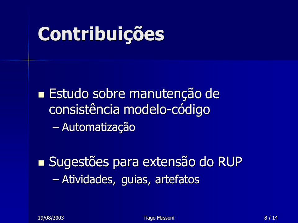 19/08/2003Tiago Massoni8 / 14 Contribuições Estudo sobre manutenção de consistência modelo-código Estudo sobre manutenção de consistência modelo-códig