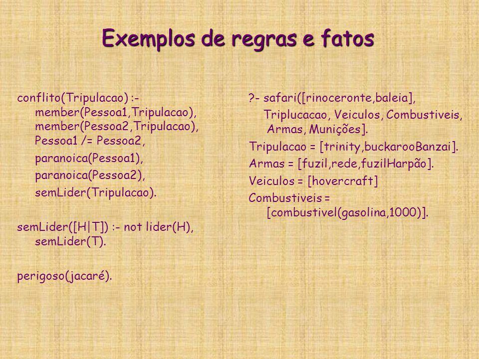 Exemplos de regras e fatos conflito(Tripulacao) :- member(Pessoa1,Tripulacao), member(Pessoa2,Tripulacao), Pessoa1 /= Pessoa2, paranoica(Pessoa1), par