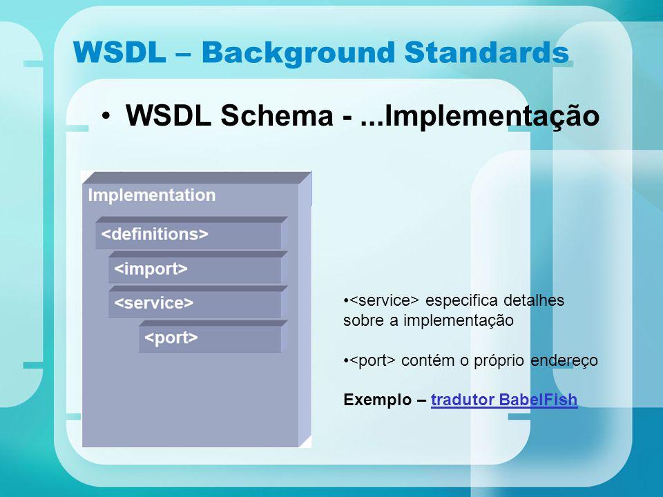 WSDL – Background Standards WSDL Schema -...Implementação especifica detalhes sobre a implementação contém o próprio endereço Exemplo – tradutor Babel