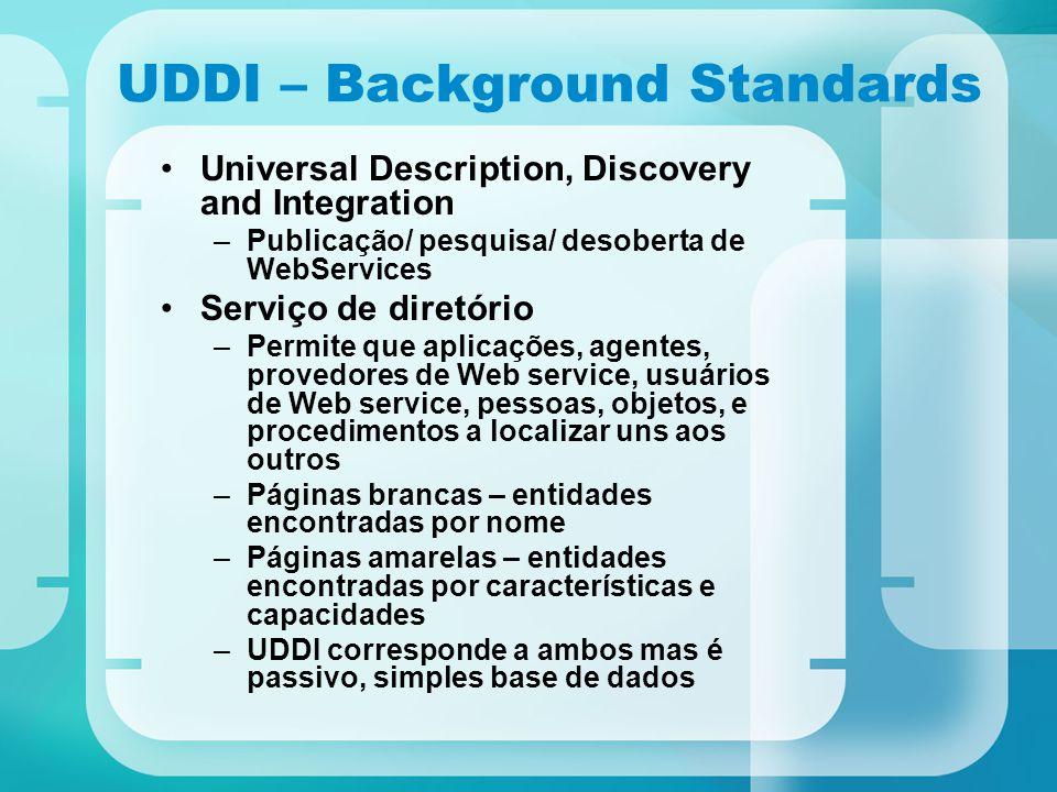 UDDI – Background Standards Universal Description, Discovery and Integration –Publicação/ pesquisa/ desoberta de WebServices Serviço de diretório –Per