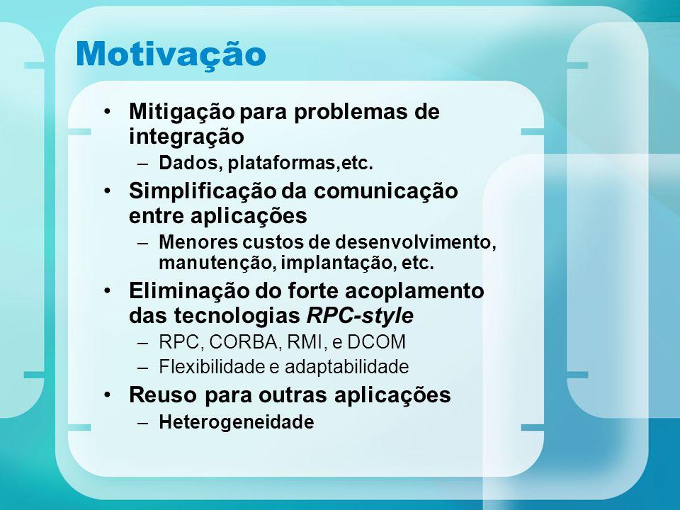 Motivação Mitigação para problemas de integração –Dados, plataformas,etc. Simplificação da comunicação entre aplicações –Menores custos de desenvolvim