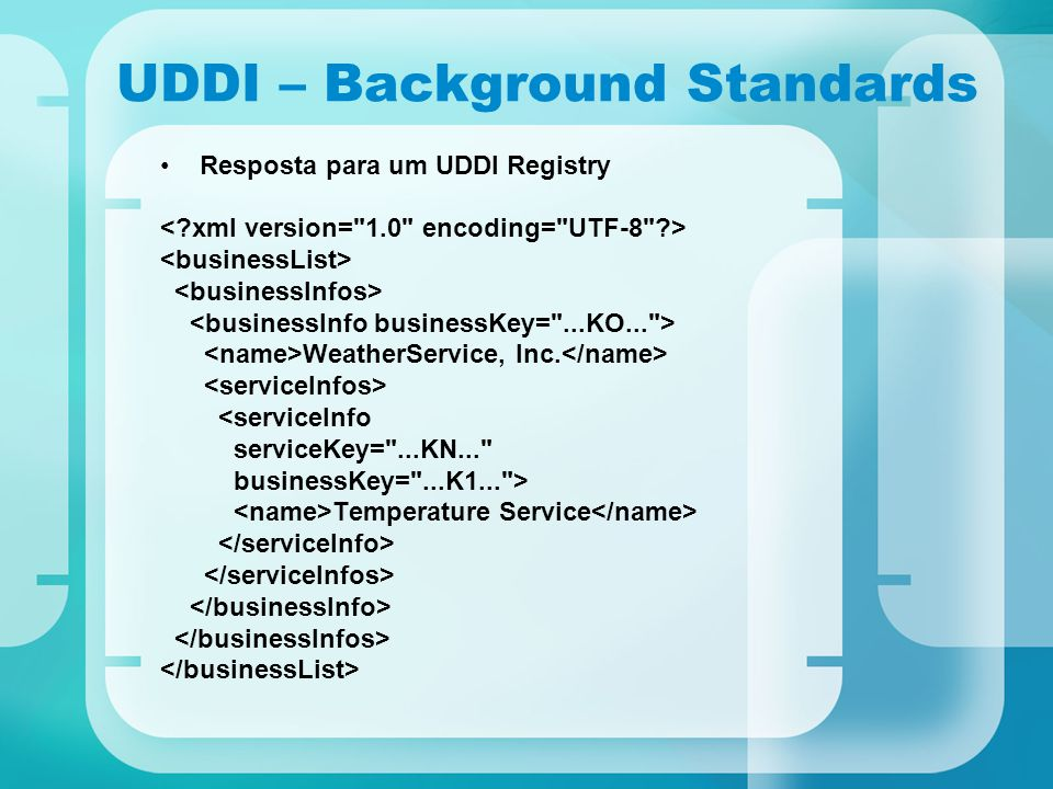 UDDI – Background Standards Resposta para um UDDI Registry WeatherService, Inc. <serviceInfo serviceKey=