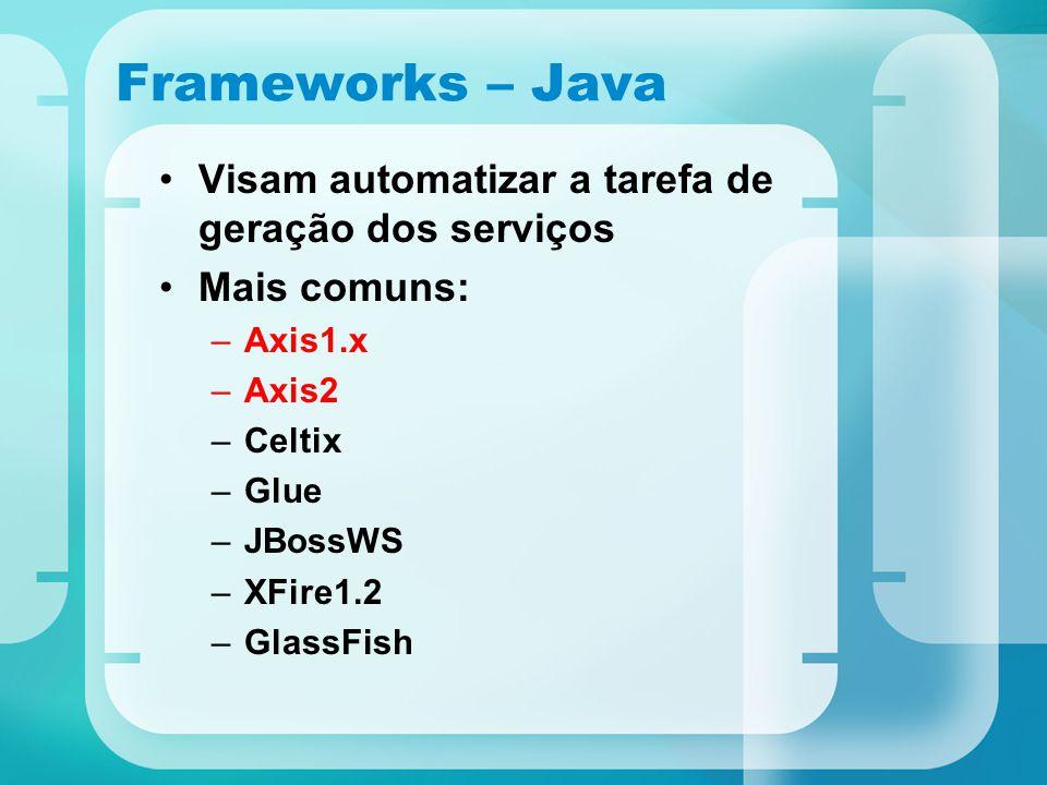 Frameworks – Java Visam automatizar a tarefa de geração dos serviços Mais comuns: –Axis1.x –Axis2 –Celtix –Glue –JBossWS –XFire1.2 –GlassFish