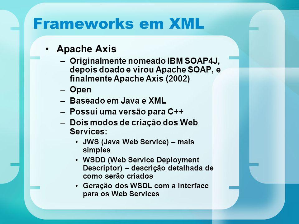 Frameworks em XML Apache Axis –Originalmente nomeado IBM SOAP4J, depois doado e virou Apache SOAP, e finalmente Apache Axis (2002) –Open –Baseado em J