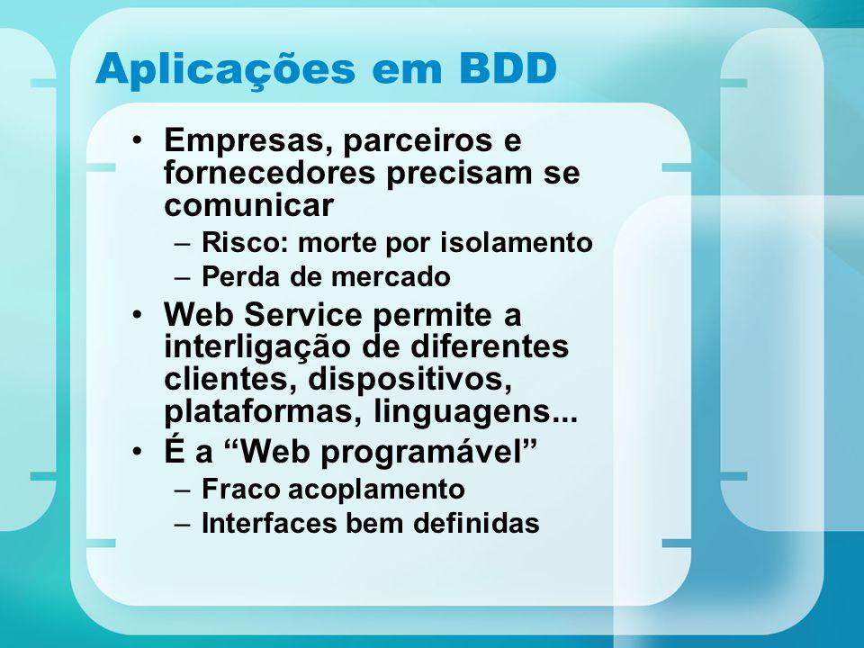 Aplicações em BDD Empresas, parceiros e fornecedores precisam se comunicar –Risco: morte por isolamento –Perda de mercado Web Service permite a interl
