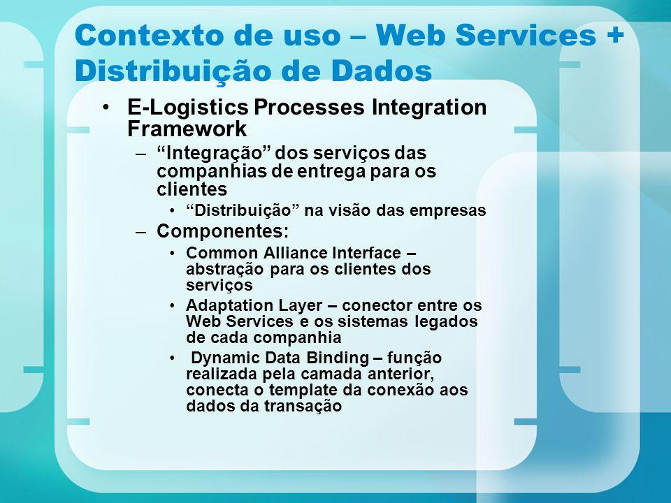 """Contexto de uso – Web Services + Distribuição de Dados E-Logistics Processes Integration Framework –""""Integração"""" dos serviços das companhias de entreg"""
