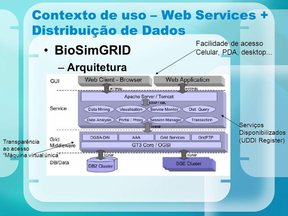Contexto de uso – Web Services + Distribuição de Dados BioSimGRID –Arquitetura Facilidade de acesso Celular, PDA, desktop... Serviços Disponibilizados
