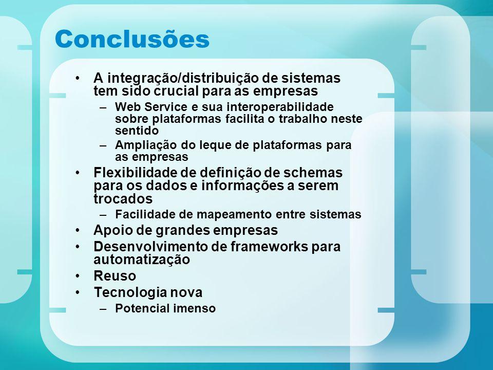 Conclusões A integração/distribuição de sistemas tem sido crucial para as empresas –Web Service e sua interoperabilidade sobre plataformas facilita o