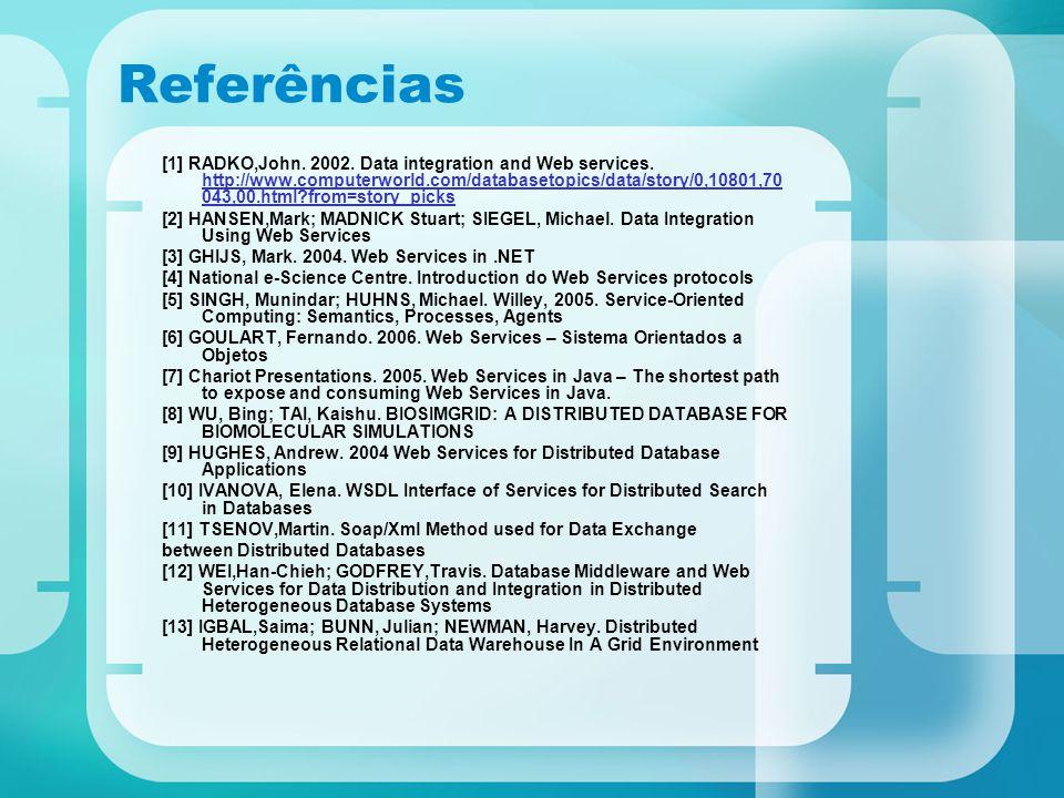 Referências [1] RADKO,John. 2002. Data integration and Web services. http://www.computerworld.com/databasetopics/data/story/0,10801,70 043,00.html?fro