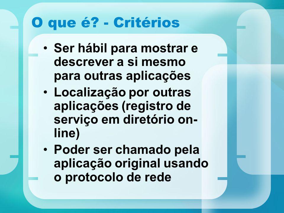 O que é? - Critérios Ser hábil para mostrar e descrever a si mesmo para outras aplicações Localização por outras aplicações (registro de serviço em di
