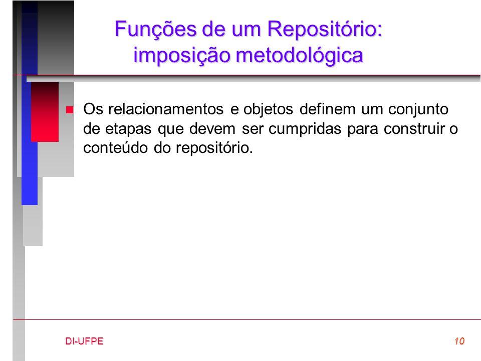 DI-UFPE10 Funções de um Repositório: imposição metodológica n Os relacionamentos e objetos definem um conjunto de etapas que devem ser cumpridas para construir o conteúdo do repositório.