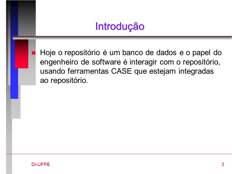 DI-UFPE3 Introdução n Hoje o repositório é um banco de dados e o papel do engenheiro de software é interagir com o repositório, usando ferramentas CASE que estejam integradas ao repositório.