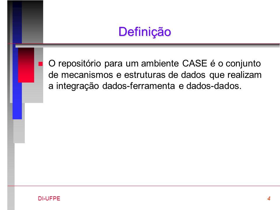 DI-UFPE4 Definição n O repositório para um ambiente CASE é o conjunto de mecanismos e estruturas de dados que realizam a integração dados-ferramenta e dados-dados.