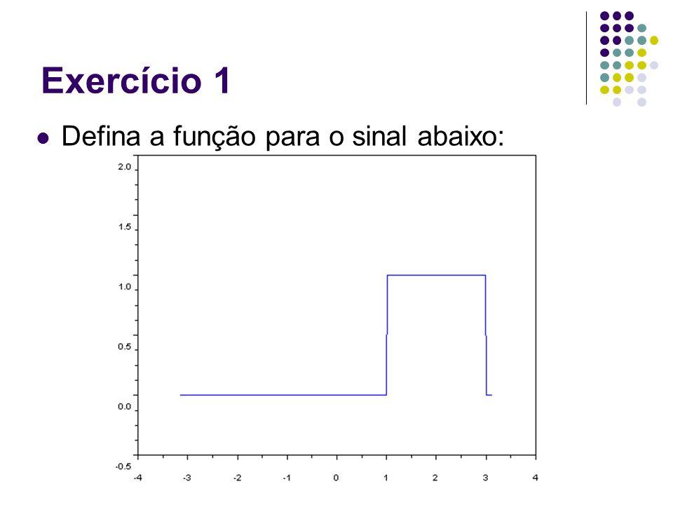 Exercício 1 function [r] = pe(t) r = degrau(t-1) - degrau(t-3); endfunction Outras funções auxiliares de plot: xtitle('title'), xgrid(),