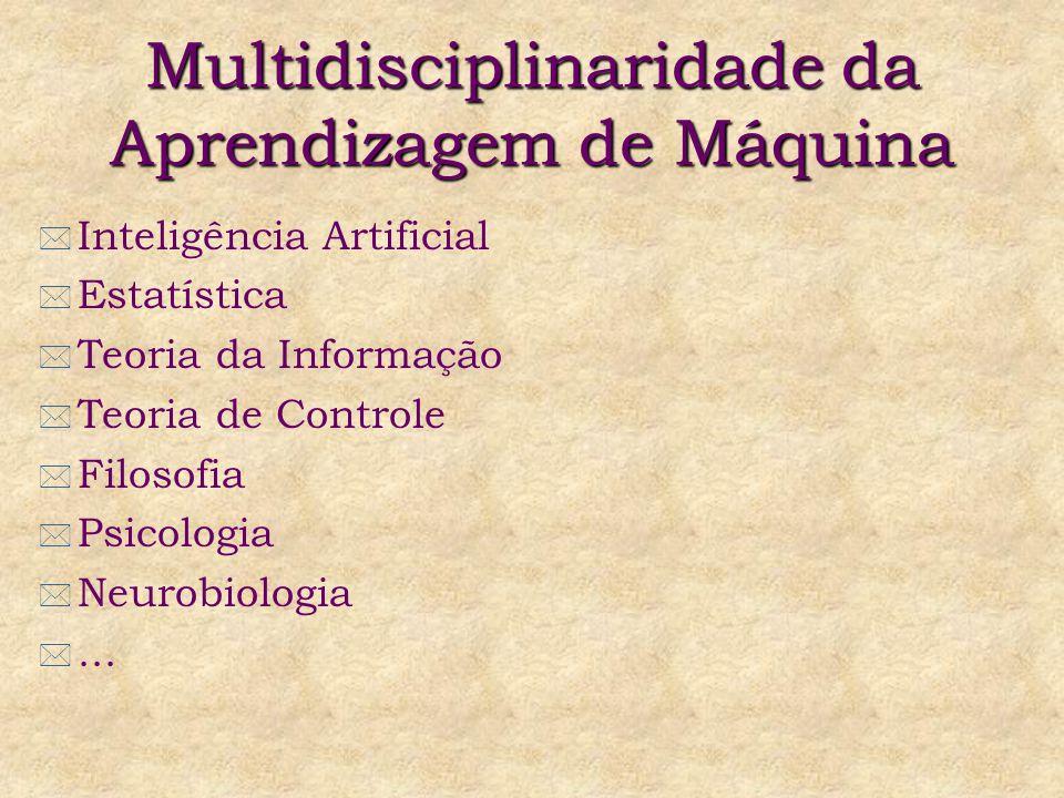 Multidisciplinaridade da Aprendizagem de Máquina * Inteligência Artificial * Estatística * Teoria da Informação * Teoria de Controle * Filosofia * Psicologia * Neurobiologia *...