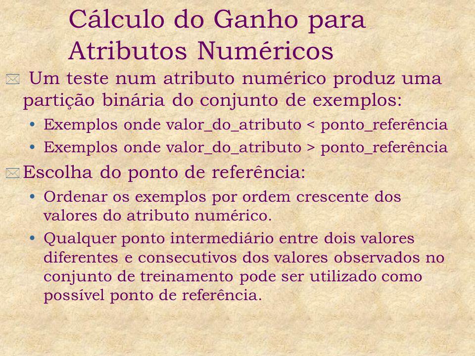* Um teste num atributo numérico produz uma partição binária do conjunto de exemplos: Exemplos onde valor_do_atributo < ponto_referência Exemplos onde valor_do_atributo > ponto_referência * Escolha do ponto de referência: Ordenar os exemplos por ordem crescente dos valores do atributo numérico.
