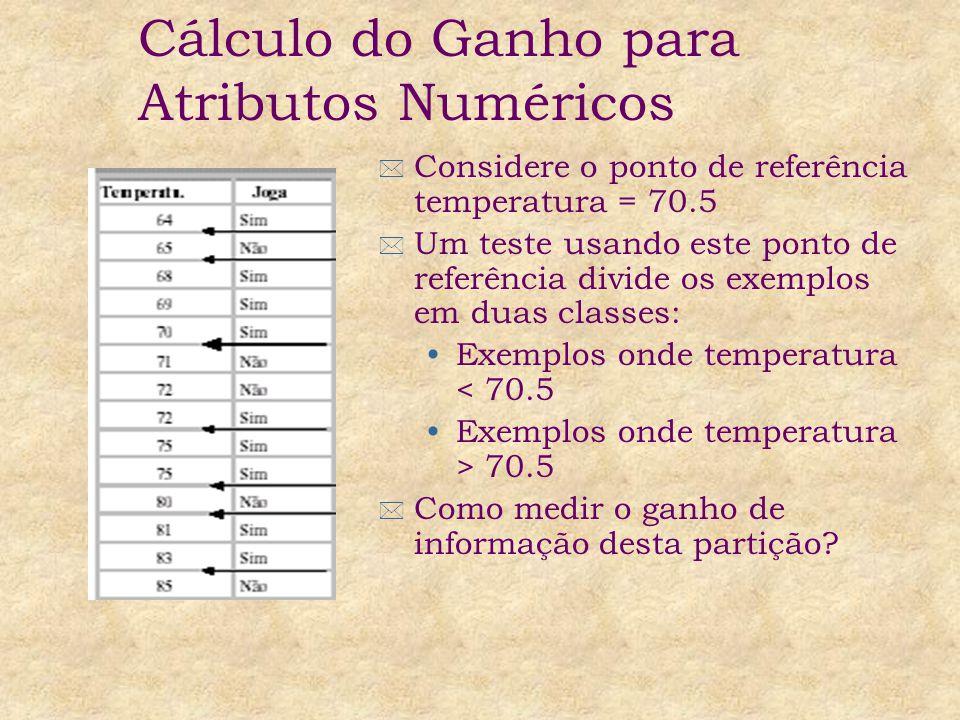 * Considere o ponto de referência temperatura = 70.5 * Um teste usando este ponto de referência divide os exemplos em duas classes: Exemplos onde temperatura < 70.5 Exemplos onde temperatura > 70.5 * Como medir o ganho de informação desta partição.