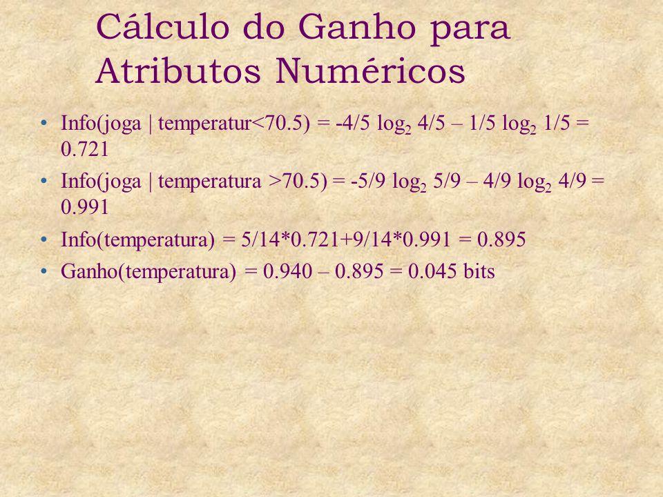 Info(joga | temperatur<70.5) = -4/5 log 2 4/5 – 1/5 log 2 1/5 = 0.721 Info(joga | temperatura >70.5) = -5/9 log 2 5/9 – 4/9 log 2 4/9 = 0.991 Info(temperatura) = 5/14*0.721+9/14*0.991 = 0.895 Ganho(temperatura) = 0.940 – 0.895 = 0.045 bits Cálculo do Ganho para Atributos Numéricos