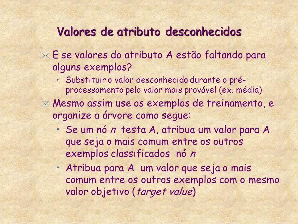 Valores de atributo desconhecidos * E se valores do atributo A estão faltando para alguns exemplos.
