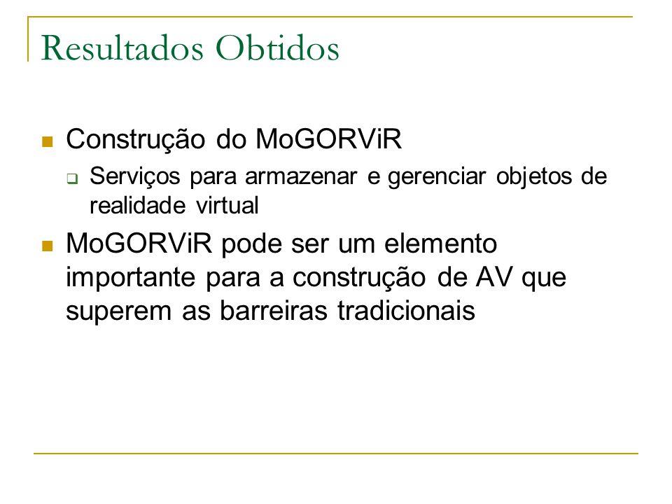 Resultados Obtidos Construção do MoGORViR  Serviços para armazenar e gerenciar objetos de realidade virtual MoGORViR pode ser um elemento importante para a construção de AV que superem as barreiras tradicionais