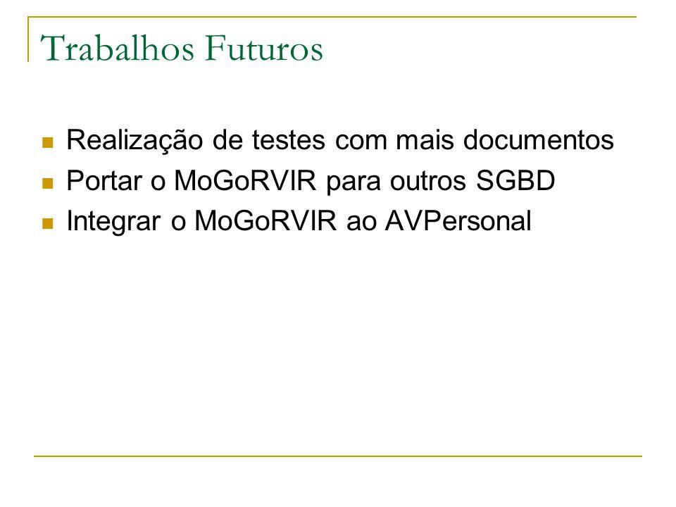 Trabalhos Futuros Realização de testes com mais documentos Portar o MoGoRVIR para outros SGBD Integrar o MoGoRVIR ao AVPersonal