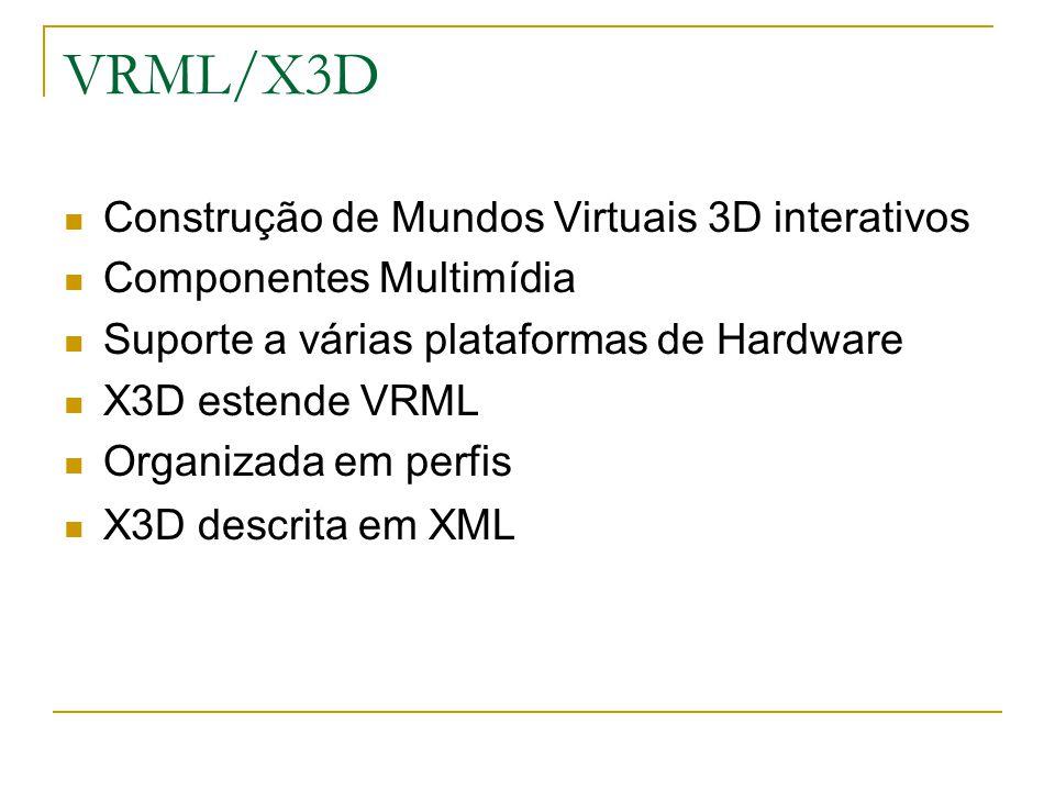 VRML/X3D Construção de Mundos Virtuais 3D interativos Componentes Multimídia Suporte a várias plataformas de Hardware X3D estende VRML Organizada em perfis X3D descrita em XML