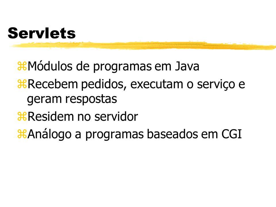 zMódulos de programas em Java zRecebem pedidos, executam o serviço e geram respostas zResidem no servidor zAnálogo a programas baseados em CGI