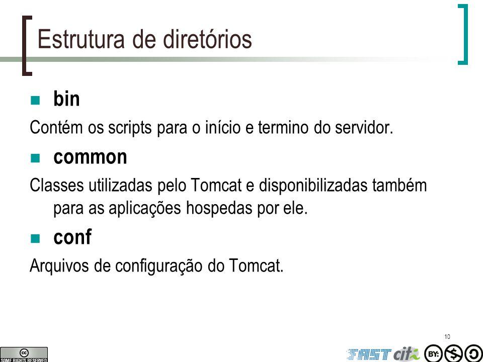 10 Estrutura de diretórios bin Contém os scripts para o início e termino do servidor. common Classes utilizadas pelo Tomcat e disponibilizadas também