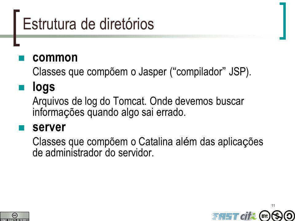 """11 Estrutura de diretórios common Classes que compõem o Jasper ( """" compilador """" JSP). logs Arquivos de log do Tomcat. Onde devemos buscar informa ç õe"""