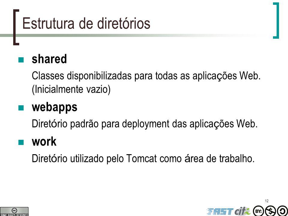 12 Estrutura de diretórios shared Classes disponibilizadas para todas as aplica ç ões Web. (Inicialmente vazio) webapps Diret ó rio padrão para deploy