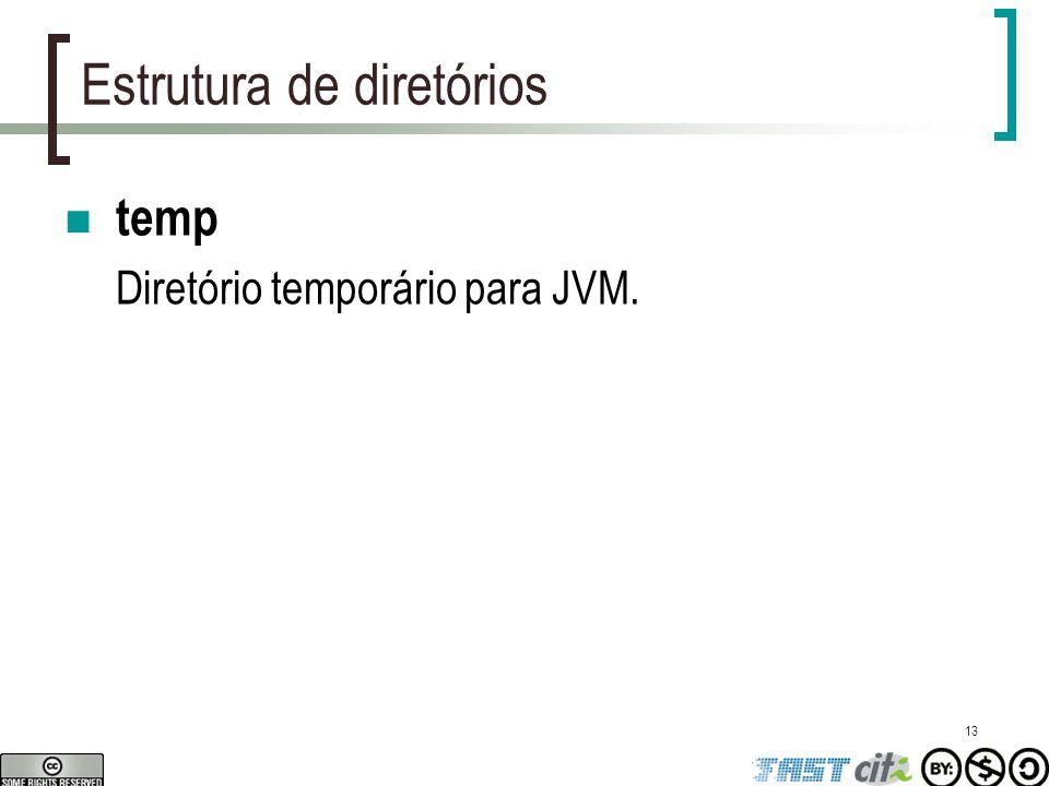 13 Estrutura de diretórios temp Diretório temporário para JVM.